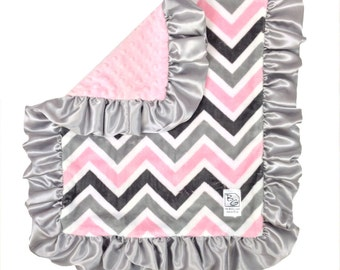Pink Chevron Security Blanket Pink Gray