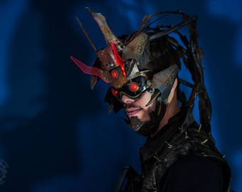 Baron Von Locust -Original light up rusty mask/headdress acrylic horns -Unique one of a kind Kydex Wearable cyberpunk wasteland wearable art