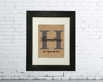 8 x 10 | Monogram | Last Name | House Warming Gift | Bridal Shower Gift | Personalized Wedding Gift | Home Decor | Wedding Date