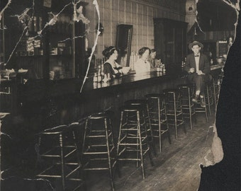 vintage photo 1910 Susan & Henry Bar Saloon Stools RPPC