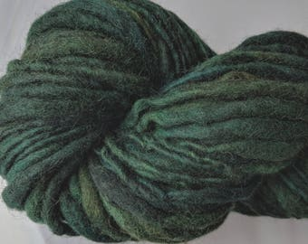 """Yarn Handspun Alpaca & Wool Thick and Thin Bulky 78 Yards (2 Avail.)  Dark Green Hand Dyed  """" Forest at Midnight """" Doll Hair Knitting Supply"""