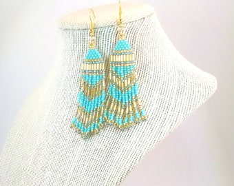 Teal Fringe Seed Bead Earrings, Native Inspired Beaded Boho Earrings, Southwestern Style Hippie Earrings, Earrings for Women