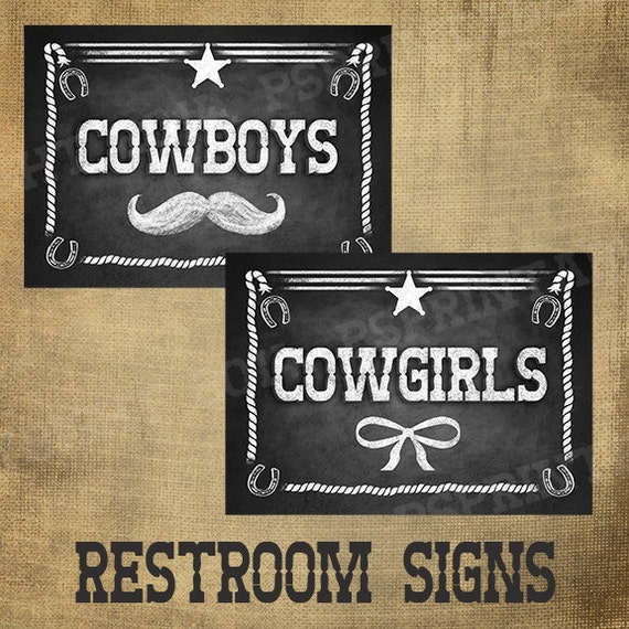 PRINTED Cowboy & Cowgirl signs for your wedding or western themed party - chalkboard signage - with optional add ons