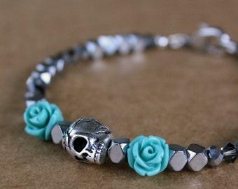 Skull Bracelet, Halloween Jewelry, Autumn Jewelry, Fall Jewelry, Gift For Her, Goth Jewelry, Skeleton, Modern Jewelry, Silver Jewelry, Scary