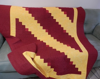 Burgundy and Gold Log Cabin Lap Quilt