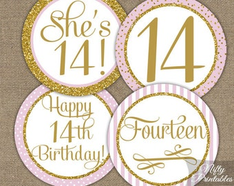 14th Birthday Cupcake Toppers - Fourteenth Birthday Party Pink & Gold Printable - DIY Girls 14th Bday Favor Tags - Fourteen Year Old - PGL