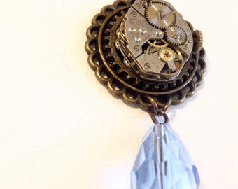 Sky blue and brass steampunk necklace
