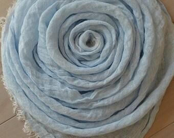 Light Blue LINEN Scarf, Pale Blue Scarf, Blue Melange Scarf, Summer Scarf, Men Scarf, Women scarf
