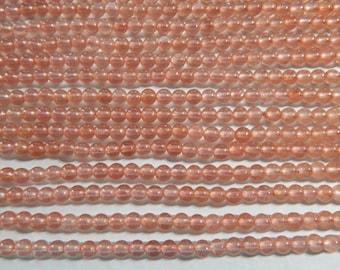 4mm Dusty Rose - Pink Jade Polished Round Gemstone Beads, 15 Inch Strand (INDOC55)