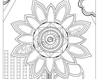 Sunflower Adult Coloring Page- PDF Instant Download