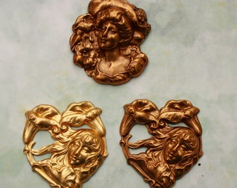 Brass Stamping Heart Shaped Shiny Golden or Antiqued Brass with Girl Calla Lily or Gibson Girl