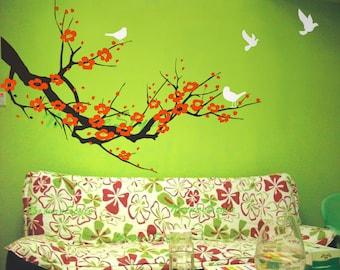red cherry blossom wall decals birds vinyl wall decals nursery wall decals tree wall mural cherry decor-Plum Blossom with Flying Birds