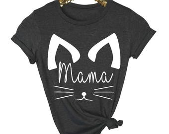 Mom Shirt - Mom Tee- Shirt For Mom - Mama Cat Shirt - New Mom - Pregnancy Reveal Shirt- Gift For Mom - Pregnancy Announcement