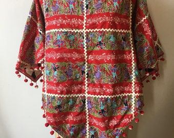 1940s Ric Rac Rockabilly Reversable Poncho- AS IS