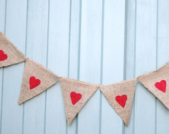 Valentines/Wedding Heart Burlap Bunting