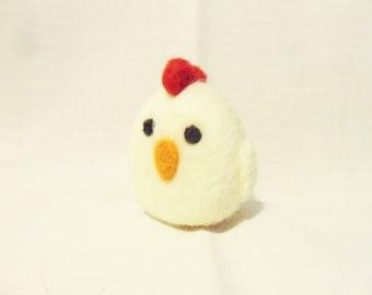 Needle Felted Chicken -  miniature chicken figure - merino & jacob wool - wool felt chicken - plush chicken