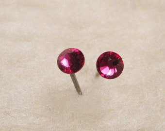 Niobium Stud Earrings - Fuchsia (2mm, 4mm, or 5mm) - Hypoallergenic Earrings for Sensitive Ears // Nickel Free Post Earrings
