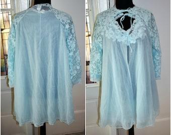 Vintage 60s Pastel Blue Peignoir Set- Mini Chiffon Night Gown & Robe Set-Mad Men-Pinup Lingerie Blanche by Erika McGowan