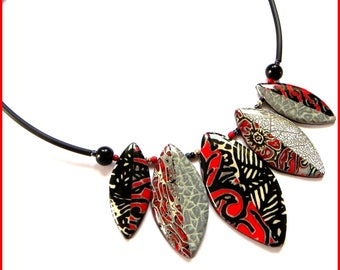 Polymer silver black red buna cord fimo clay necklace original fancy resin