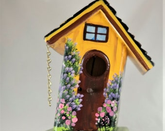 Leaning Yellow and Cranberry Birdhouse , Handmade , Painted with Many, Many Flowers