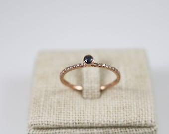 14K solid gold blue diamond eternity ring, cognac diamond ring, 14K eternity band, half around diamond ring, engagement ring, wedding ring,