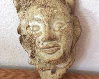 Vintage Rare Modernist Face Art Pottery Sculpture Signed Humphrey