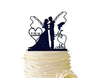 Glitter Bride With Long Hair and Groom With Fishing Poles With Initials or Date - Wedding - Anniversary - Fishing Cake Topper -  132