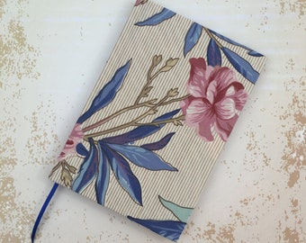 Recycled A6 Lined Notebook hand covered in a Vintage Oriental Style Floral Fabric