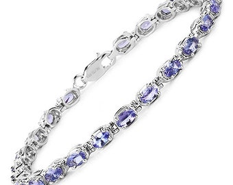 GORGEOUS!  6.00 Carat Genuine Tanzanite .925 Sterling Silver Bracelet