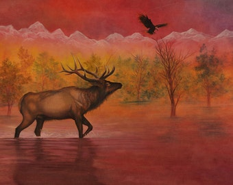 The Elk and the Eagle - Fine Art Print: spirit animals native american art nature water wall decor mythical peace power animals totem pink