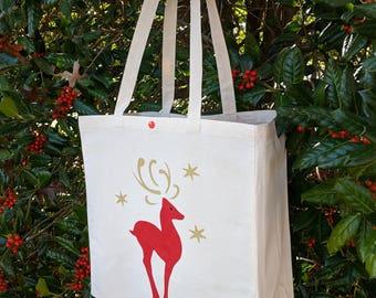 Holiday Gift Bag, Christmas Gift Bag, Christmas Tote bag, Canvas Tote Bag, Red Nosed Reindeer, Reusable Bag, Shopping Bag