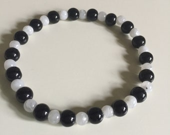 Rainbow Moonstone & Black Jasper (Basanite) Stretch Bracelet