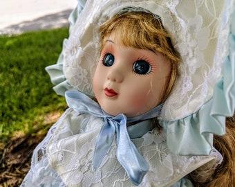 Blue Bonnet Vintage Porcelain Doll