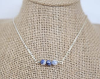 Blue and White Sodalite Bead Silver Necklace, Natural Gemstone Jewelry
