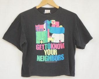 Vintage 80s Neon Print Cropped T-shirt/Wildlife/Animals/Retro/Hippie