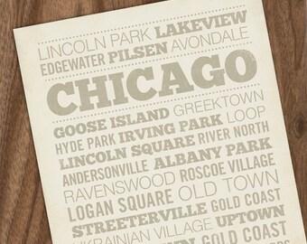 Chicago Neighborhood 8 x10 Art Print