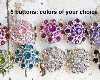 Large Rhinestone Buttons - Set of 5 Limited Edition 28mm - YOU PICK COLORS -  Acrylic Plastic Rhinestone Buttons