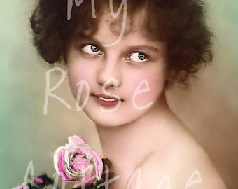 """Antique Hand Tinted French Postcard """"Theresse"""" Digital Download"""