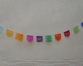 Mini Papel picado Day of the dead paper banner dia de los muertos string attached with 10 flags Mexico Assorted Colors