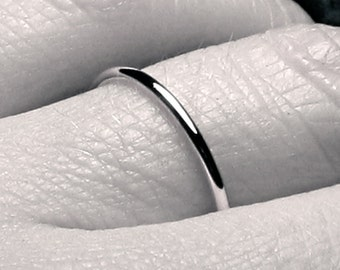 1.5mm gold wedding band/ solid 14k WHITE gold/ simple wedding band/ plain wedding ring/ Handmade/ fully round/ full halo/ plain & simple