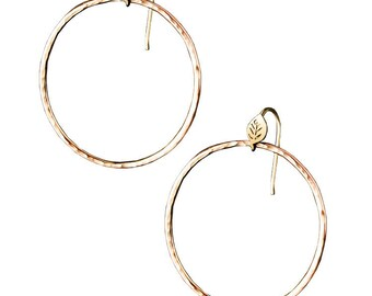 Forest Lake Hoop Earrings, Leaf and Textured hoop earrings, 14K Yellow Gold Hoops