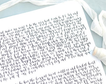 Custom Calligraphy Wedding Vows