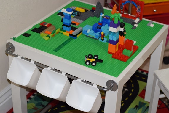 Kids LEGO® Table with Storage Hanging Storage Buckets Lego