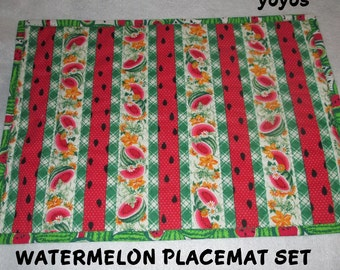 WATERMELON,  PLACEMAT SET, Four,  Summer,  Home Decor,  Cottage,  Cabin,  Holiday,  Picnic,  Porch Decor, Hostess Gift, Mothers Day