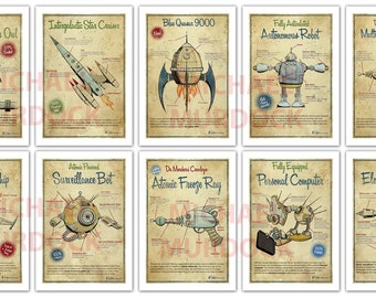 14 - 5x7 mini prints - Retro and Steampunk collections