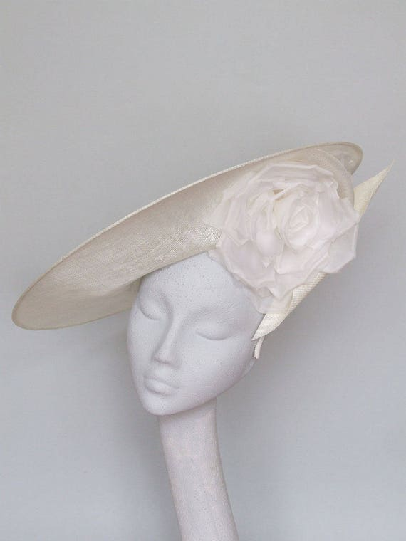 Ivory Disc Fascinator Ascot Hat   Alyson by Etsy