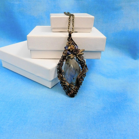 Labradorite Pendant Gemstone Necklace Gift for Her Artisan Crafted Woven Wire Artistic Jewelry Present for Wife Girlfriend Mom Mother Sister