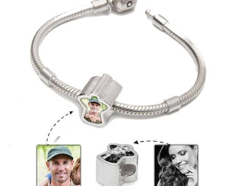 Personalised Memorial bracelet with Angel Photo Charm | Choose 2 Photos | Handmade in the UK from .925 Sterling Silver