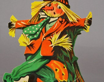 Halloween Scarecrow Die Cut Cardboard, Perhaps Dennison, made in the USA