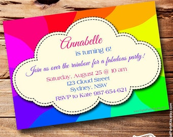 """Rainbow Invitation - EDITABLE & PRINTABLE - Do It Yourself - Instant Download - 5x7""""- by DigitalPartyKits"""